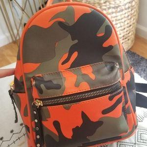 Black/orange camo backpack